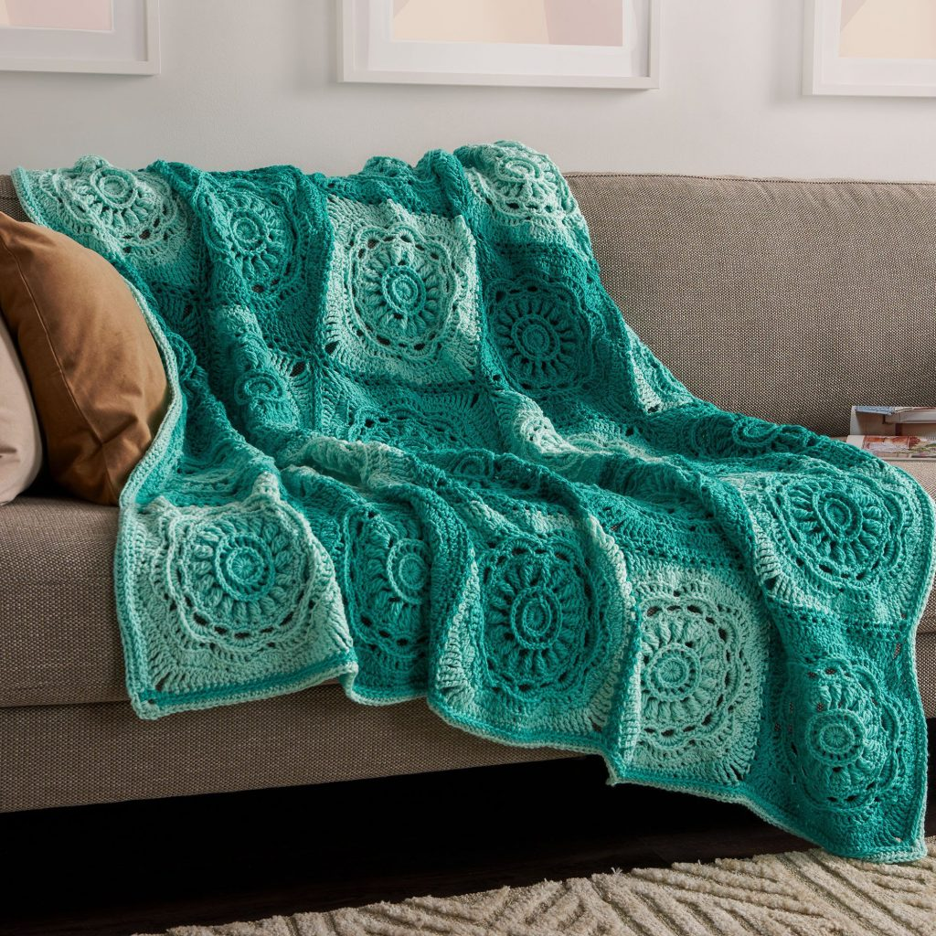 Free Crochet Pattern for a Floral Squares Throw