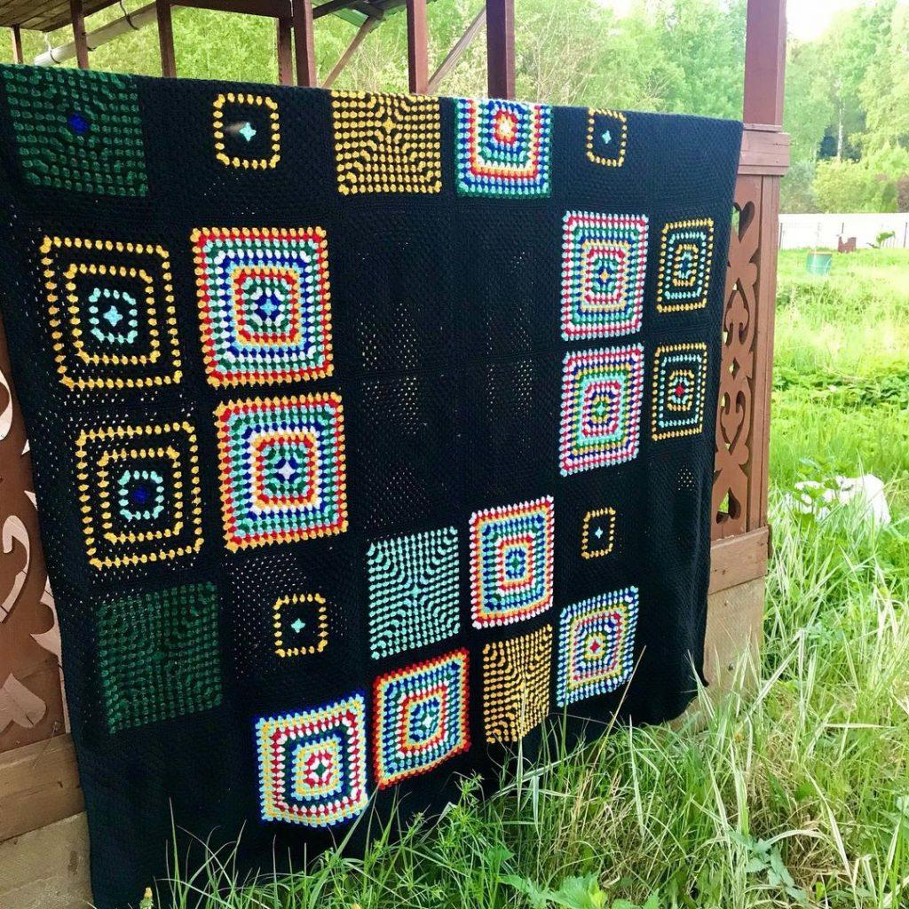 Rainbow and patchwork crochet blanket