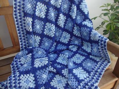 blue crochet granny square blanket