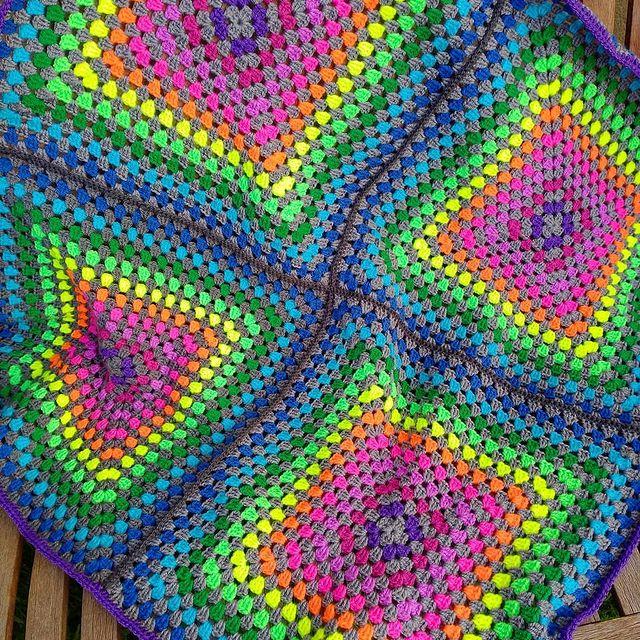 neon rainbow granny square blanket crochet