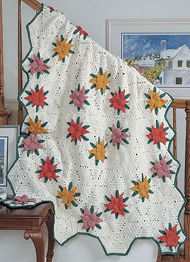 Free Crochet Pattern for a Hexagon and Flowers Blanket