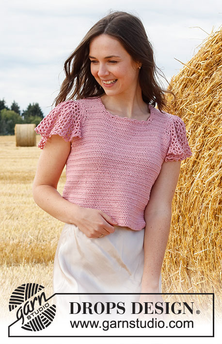 Summer blouse crocheted top down with vent mid back of neck and short pouffe sleeves free pattern